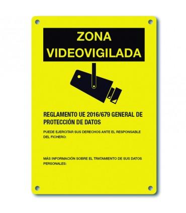 Placa CCTV Amarilla serigrafia castellano