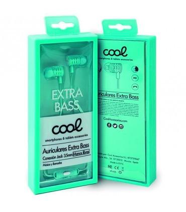 Auriculares 3,5 mm COOL Extra Bass Stereo Con Microfono Celeste
