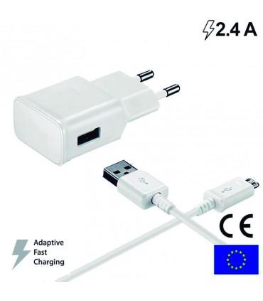 Cargador Universal Conector Micro-Usb 2.4 Amp Kit 2 En 1 Blanco