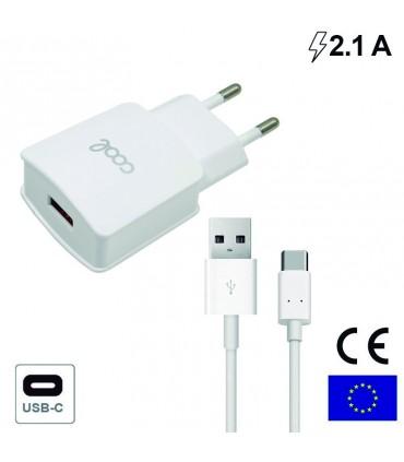 Cargador Universal Conector Tipo-C 2 Amp Kit 2 En 1 Blanco