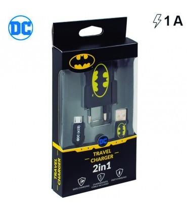 Cargador Universal Conector Micro-Usb 1Amp Kit 2 En 1 Batman
